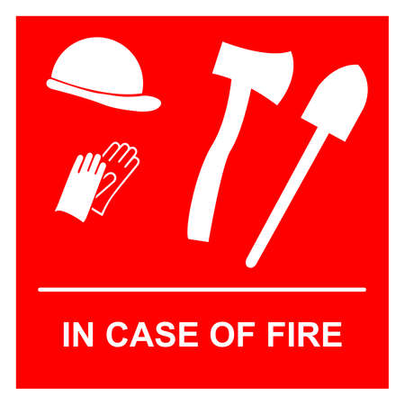 Firefighting equipment: helmet, gloves, shovel, axe and the text: in case of fire Illusztráció