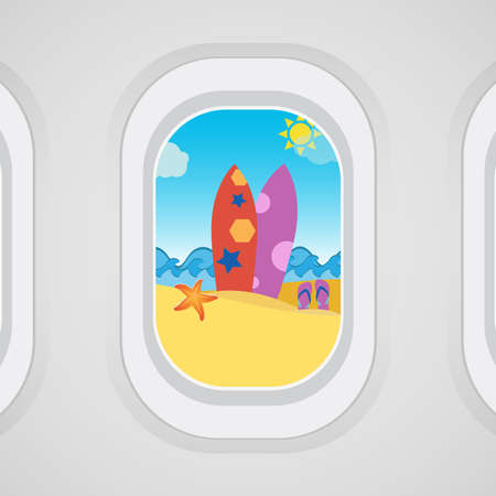 Airplane window view: surfboard, sand, flip flops, starfish, sea, vacation concept