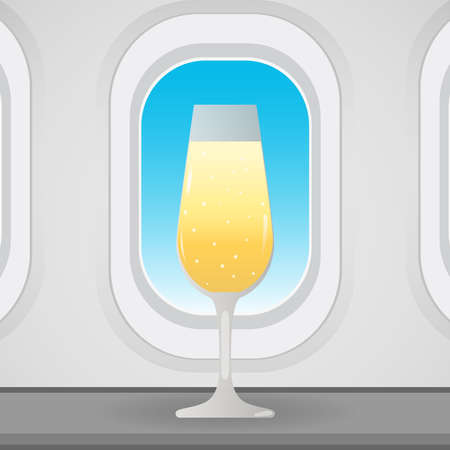 Airplane window with champagne glass, conceptual vector Illusztráció