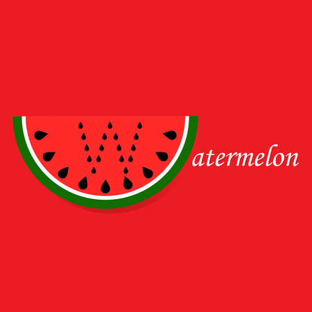 Watermelon slice with letter  w made of seeds on red background