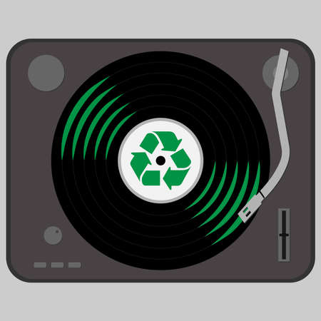 Turntable with a vinyl with recycle symbol on it Ilustração