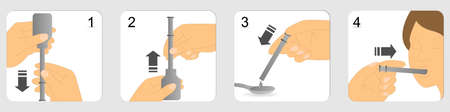 Instructions on how to give liquid medicines using plastic oral syringe Stock Illustratie