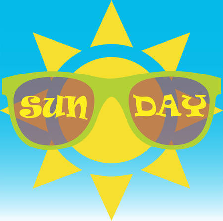 Sun wearing sunglasses with the text sun day written on them
