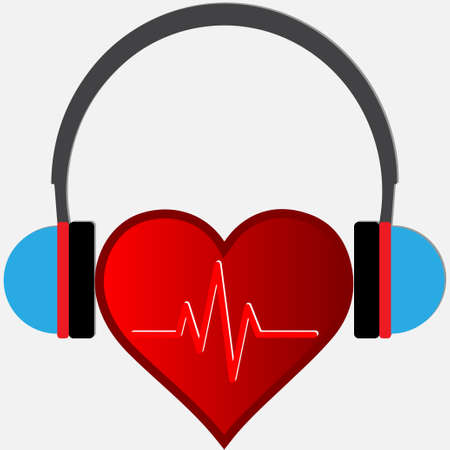 The rhythm of the heart that is heard in the headphones