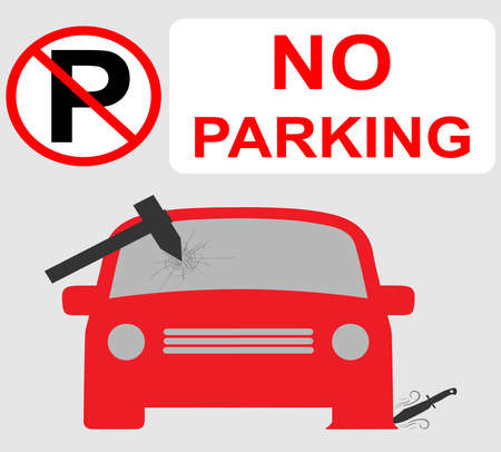 No parking sign with the windscreen of a car damaged by a hammer and its tyre damaged by knife Stock fotó - 127973149