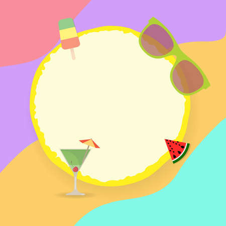 Round frame with ice cream stick, sunglasses, watermelon and cocktail glass Illusztráció