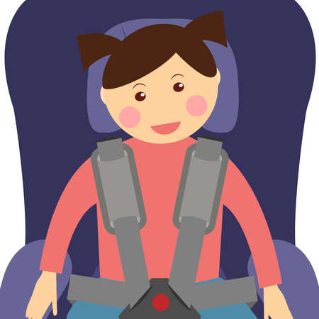 Girl wearing a seatbelt in the car seat Stock fotó - 127973180