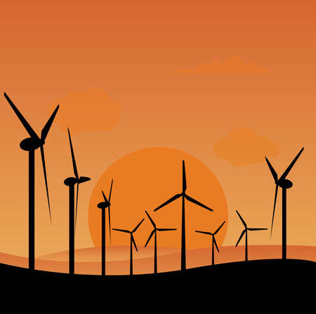 Electrical windmills silhouettes over sunset,  green energy concept Stock fotó - 127973184