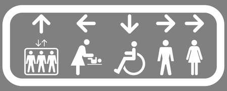 Interior signage system for elevator and for restrooms: ladies, men, disabled, diaper changing toilet