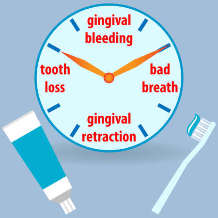 Clock showing dental problems with toothbrush and toothpaste Stock fotó - 131606048