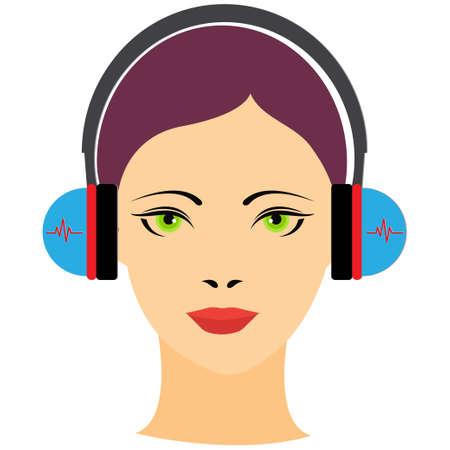 Portrait of a young woman with headphones Illusztráció