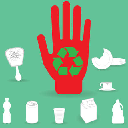 Red hand with recycling symbol on it together with broken mirror, plate and teacup, plastic bottle, aluminium can, plastic cup, milk carton