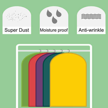 Set of colorful storage dust proof covers for clothes Stock fotó - 131605996