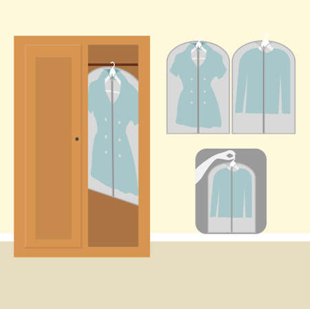 Different clothes with dust proof cover and a wooden wardrobe