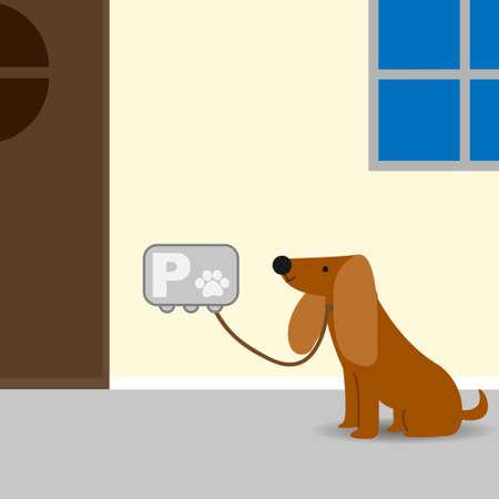 犬の駐車場で外の所有者を待っている犬 ベクターイラストレーション