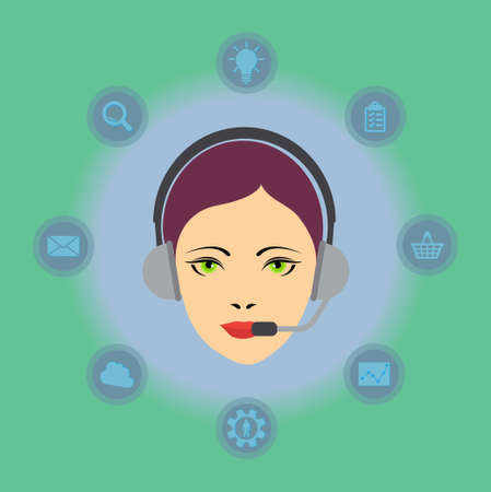 Call center concept: woman head with headset and different symbols background