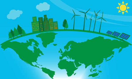 Green energy concept: windmills and solar panels near an apartment building on the earth globe Stock fotó - 135010943