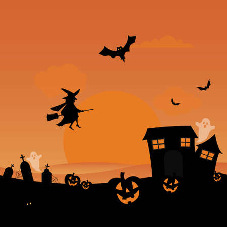 Halloween scene in a cemetery with witch, bats, ghosts and pumpkins Stock fotó - 135010946