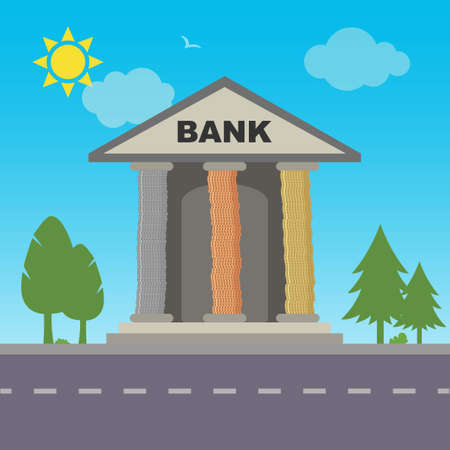Bank building with columns made of coins