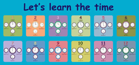 Educational worksheet that helps children learn to tell the time Stock fotó - 133245511