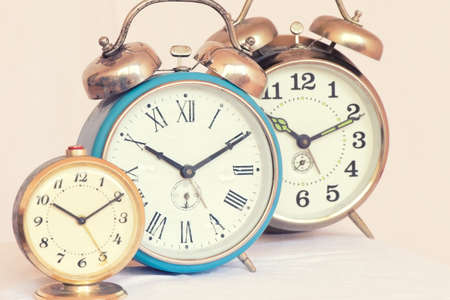 Three vintage alarm clock of different sizes Stock fotó - 135010951