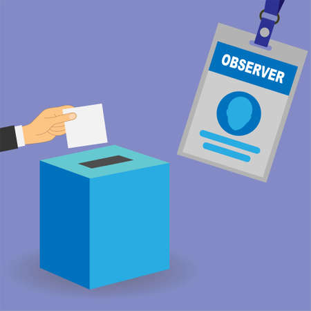 Hand putting a white card in a ballot box and observer badge