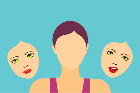 Faceless woman with two masks showing different expressions