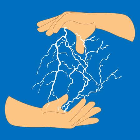 Human hands and lightning flash bolt, conceptual vector Stock fotó - 135011033