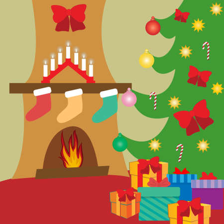 Fir tree and fire place decorated for Christmas indoors Stock fotó - 135011054