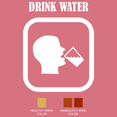 Head of a person drinking a glass of water with the written message drink water