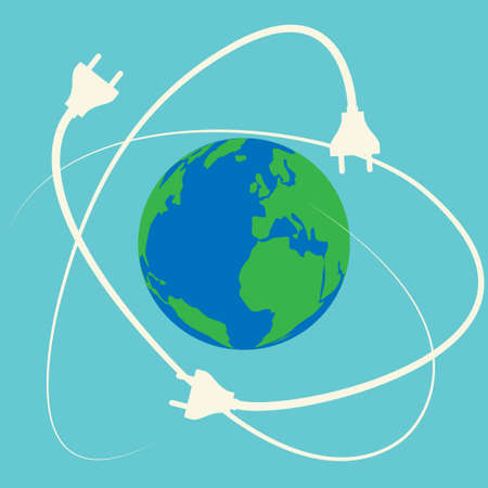 Planet earth surrounded by electric plugs, conceptual vector
