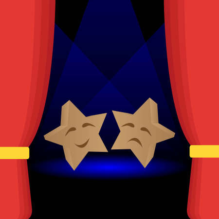 Star shaped comedy and tragedy theater masks Иллюстрация