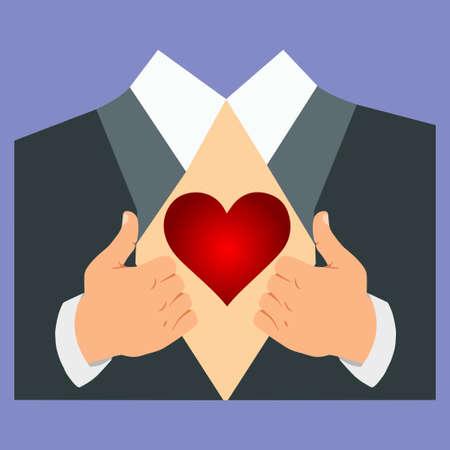 Hands opening a suit to show a human heart Illusztráció