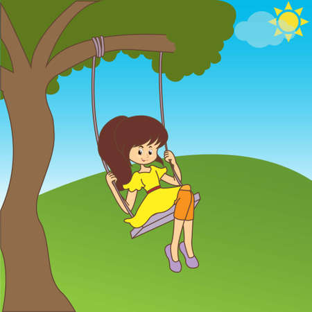 Little girl on a swing outdoors in nature