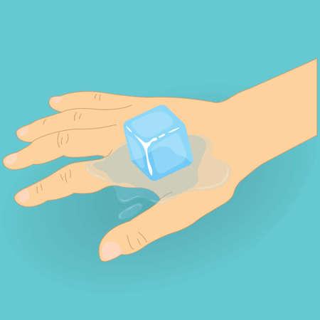 Human hand with an ice cube on it Illusztráció