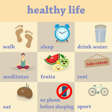 Nine steps to a healthy lifestyle, conceptual vector