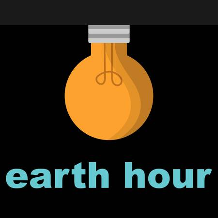 Yellow electric bulb on black background with the text earth hour