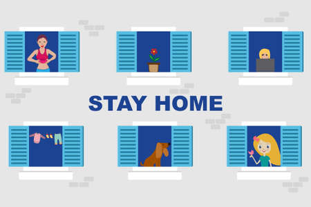 People in their apartments with windows opened and the message stay home Stock Illustratie