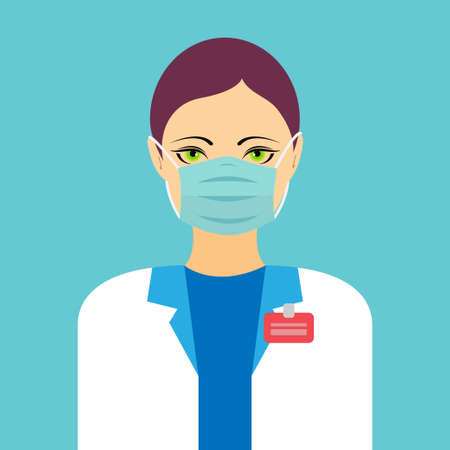 Woman doctor wearing a disposable mask, protection concept