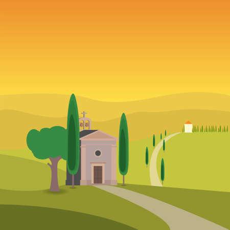 Church in a field surrounded by trees in Tuscany