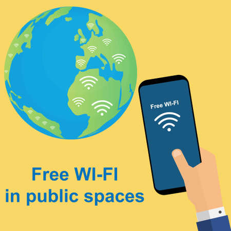 Man holding a smartphone with the text free wifi near the earth globe Stock Illustratie