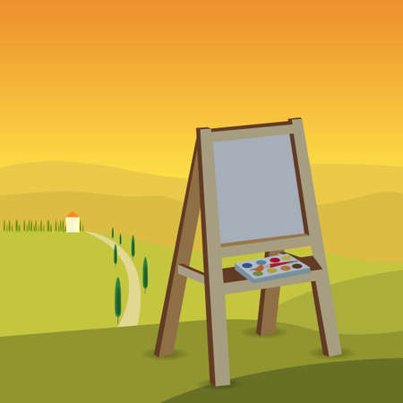 Wooden painting tripod with paintbrush and paint colors outdoors in nature