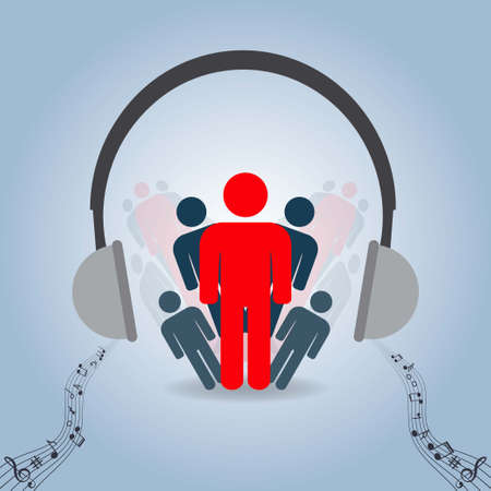 People ,headphones and musical notes, conceptual vector