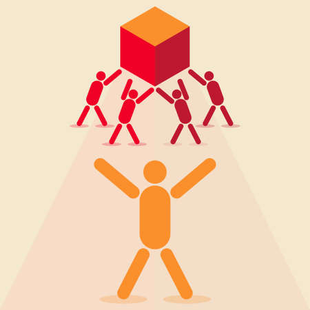 Four people lifting a heavy box while another one coordinates them Illustration