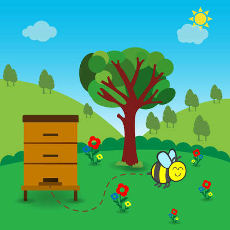 Wooden bee hive in nature outdoors, conceptual vector Ilustrace