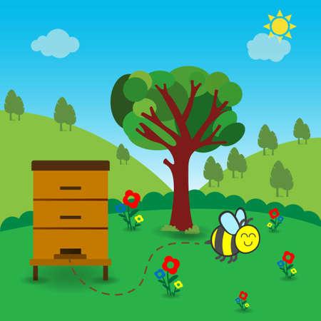 Wooden bee hive in nature outdoors, conceptual vector Stock Illustratie