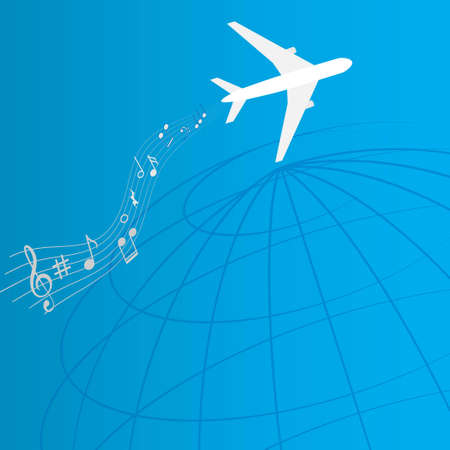 Plane with music notes, in-flight entertainment system concept