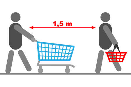Safety measure:  keep safe distance while shopping, conceptual vector Ilustrace