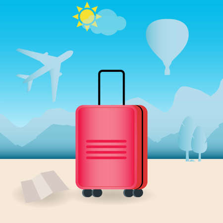 Red travel suitcase with wheels outdoors, conceptual vector
