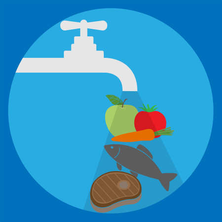 Washing vegetables, fruits, fish and meat, conceptual vector Stock Illustratie